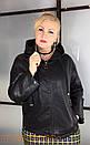 Кожаная прямая женская куртка в больших размерах на молнии и с капюшоном 10ba2092, фото 3