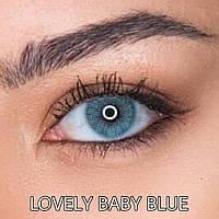 Цветные линзы ЛЮКС качество с диоптриями Rainbow Lovely Baby Blue Турция