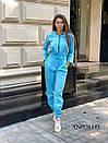 Женский спортивный комбинезон с манжетами и капюшоном с молнией спереди 17spt677, фото 7
