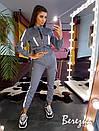 Женский костюм с джоггеры и бомбер на молнии с отражающими полосками 66spt680Q, фото 7