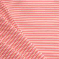 Трикотажное полотно рибана пенье хб/эл, полоска вязанная розовая