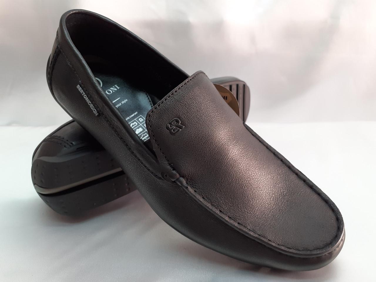 Осенние мужские кожаные чёрные мокасины Bertoni