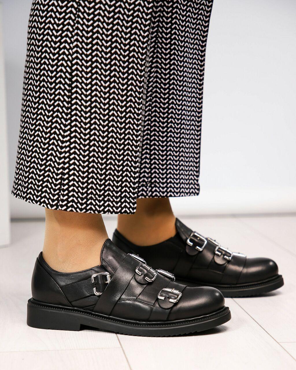 Черные женские Туфли с пряжками