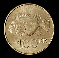 Монета Исландии 100 крон 1995 г. Рыба Пинагора