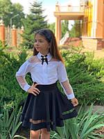 Блузка школьная для девочки с брошью софт+сетка 128,134,140,146