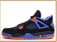 Женские высокие кроссовки Nike Air Jordan Retro 4 Cavs Black Blue (найк аир джордан ретро 4, черные / синие)