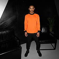 Свитшот мужской с лампасами оранжевый