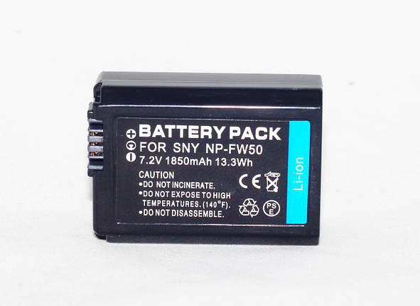 Аккумулятор NP-FW50 для камер Sony NEX-3 NEX-5 SLT-A33 SLT-A37 SLT-A35 SLT-A55 A5000 A5100 A6000 A7 - 1850 ma, фото 2