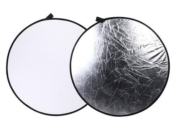 Фото рефлектор - отражатель 2 в 1 диаметром 110 см (белый - серебряный), фото 2