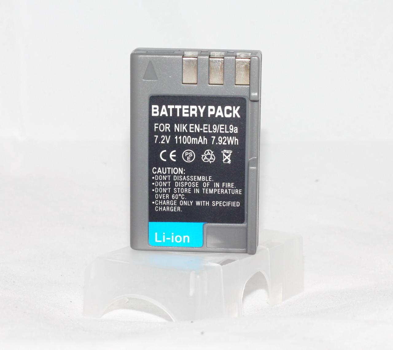 Аккумулятор для фотоаппаратов NIKON D40, D60, D40x, D3000, D5000, D3x - EN-EL9a (аналог) - 1100 ma