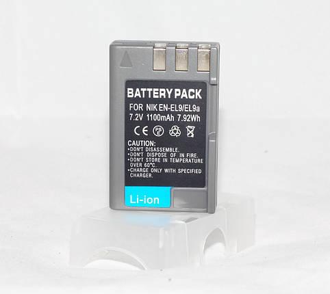 Аккумулятор для фотоаппаратов NIKON D40, D60, D40x, D3000, D5000, D3x - EN-EL9a (аналог) - 1100 ma, фото 2