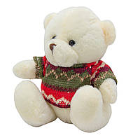 Мягкая игрушка медвежонок в свитере, 15 см, белый (395018)