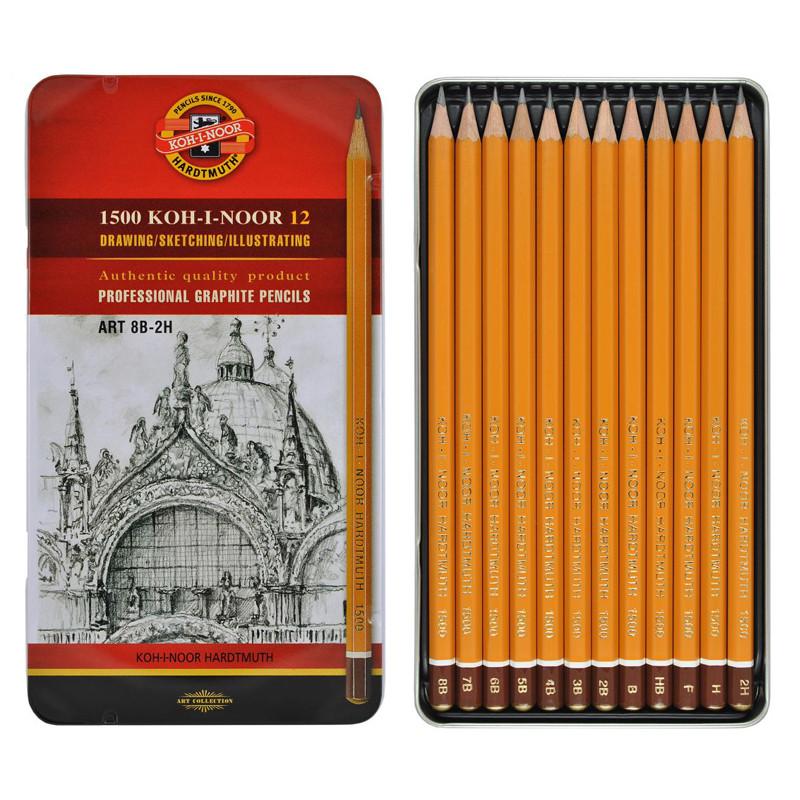 Набор графитных карандашей 1500 Koh-I-Noor Art для художественных работ, 8В-2Н, 12 шт