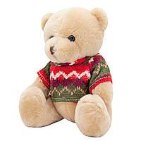Медвежонок в свитере, 15 см, бежевый.