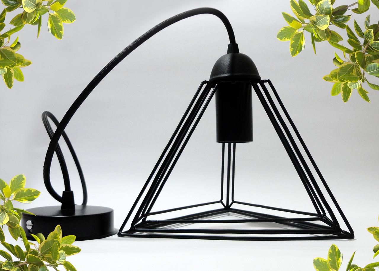 """Подвесной металлический светильник, современный стиль, loft, vintage, modern style """"PYRAMID"""" Е27 черный цвет"""