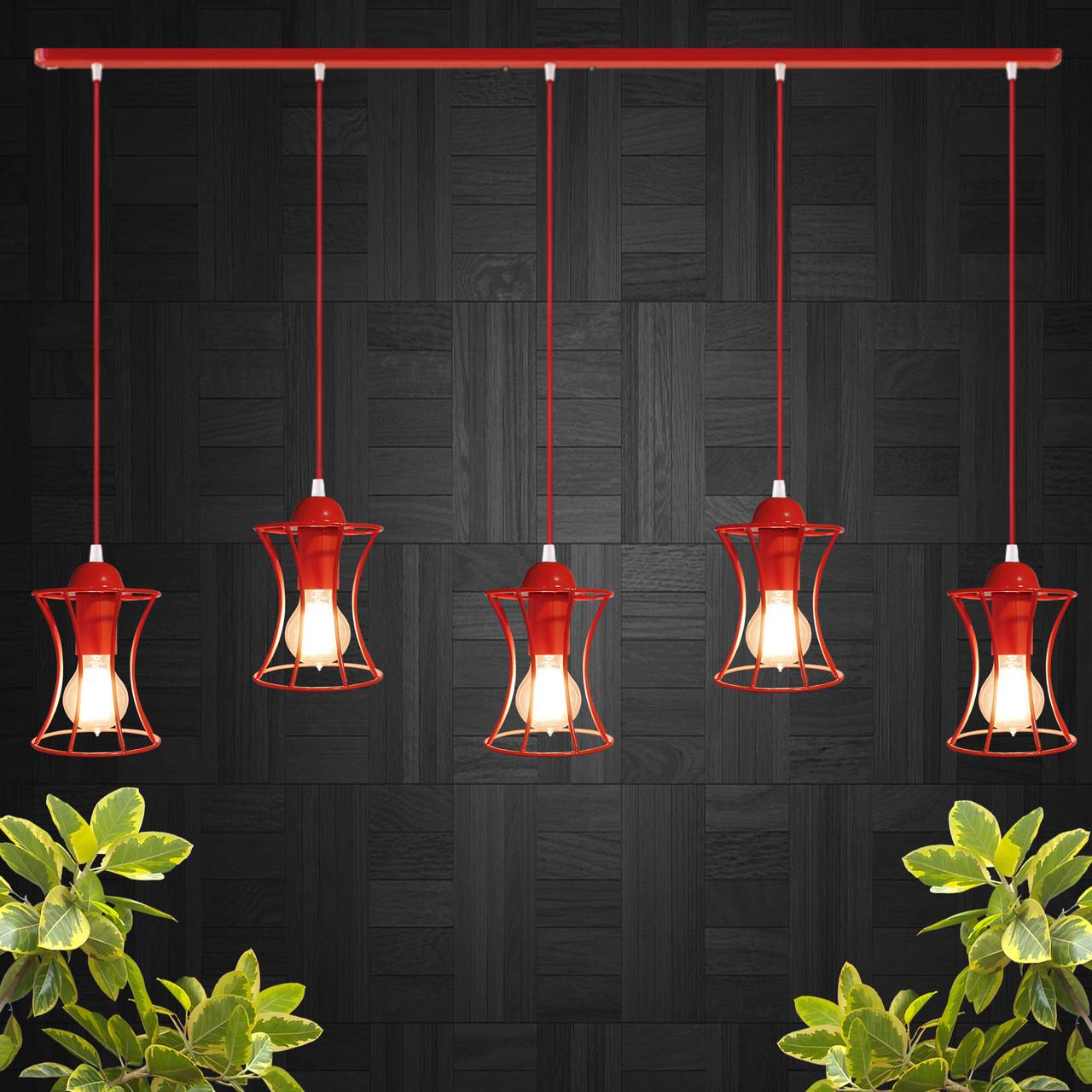 """Подвесной металлический светильник, современный стиль, loft, vintage  """"SANDBOX-5R"""" Е27 красный цвет"""