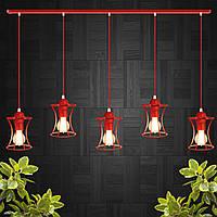 """Подвесной металлический светильник, современный стиль, loft, vintage  """"SANDBOX-5R"""" Е27 красный цвет, фото 1"""