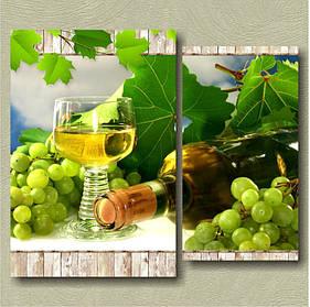 "Модульная картина на холсте ""Белое вино. Диптих"" картина ля кухни"