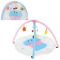 Килимок для немовляти W 8311 слоник, круглий, дуги 2 шт., підвіски-плюш 5 шт., сумка, 81-56-6 см.