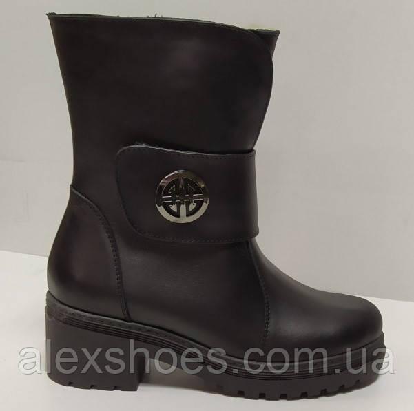 Полусапожки женские из натуральной кожи на удобном каблуке от производителя модель РБ079П