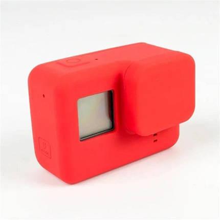 Силиконовый чехол, футляр с крышкой на объектив для экшн камер GoPro Hero 6, 5 - красный (код № XTGP347), фото 2