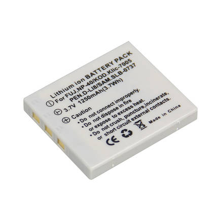 Аккумулятор для камер Konica - NP-1 (NP-40, D-LI8, KLIC-7005, SLB-0737, DS-5020, NP-1) - аналог на 1250 ма, фото 2