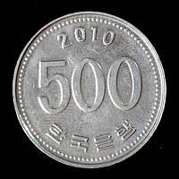 Монета Южной Кореи 500 вон 2010 г. Маньчжурский журавль