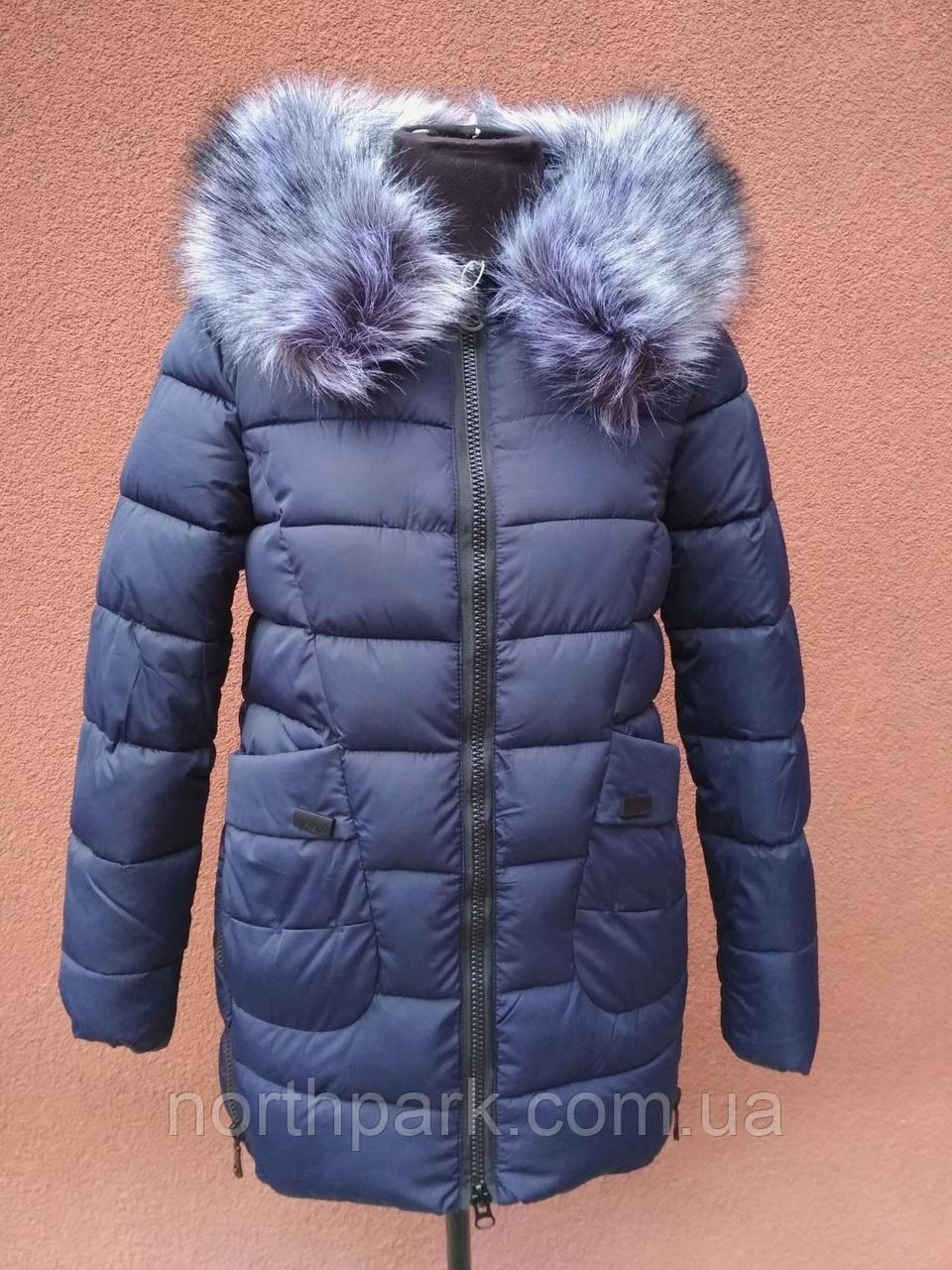Зимова подовжена куртка Garoff, темно-синя, розмір XL