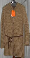 Практичное пальто женское рельефной вязки