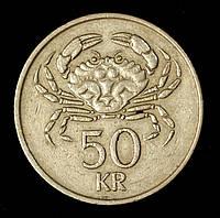 Монета Исландии 50 крон 1992 г. Краб