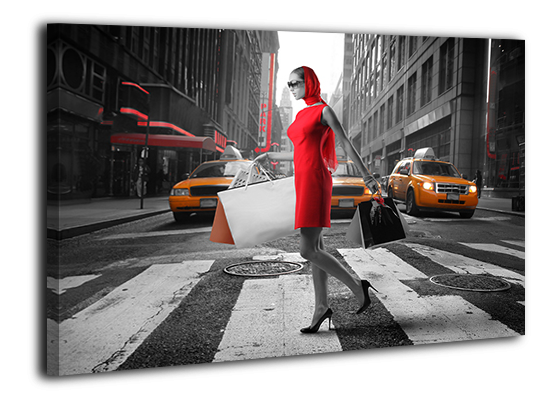Картина на холсте 50 х 70 см Девушка в красном