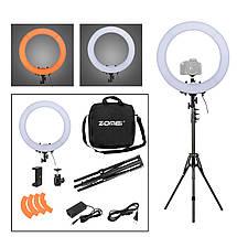"""Кольцевой LED осветитель ZOMEI (18"""") в комплекте со стойкой - для портретной, бьюти и селфи съемки, фото 2"""