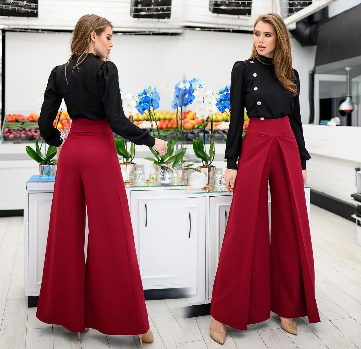 """Стильні жіночі нарядні штани """"Креп Кльош Запах"""" в кольорах (DG-ак 0252)"""