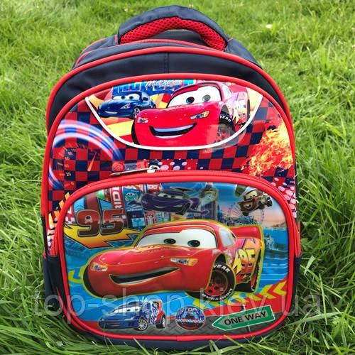 Рюкзак для первоклассника с ортопедической спинкой 3D Тачки / Маквин для мальчика ранец