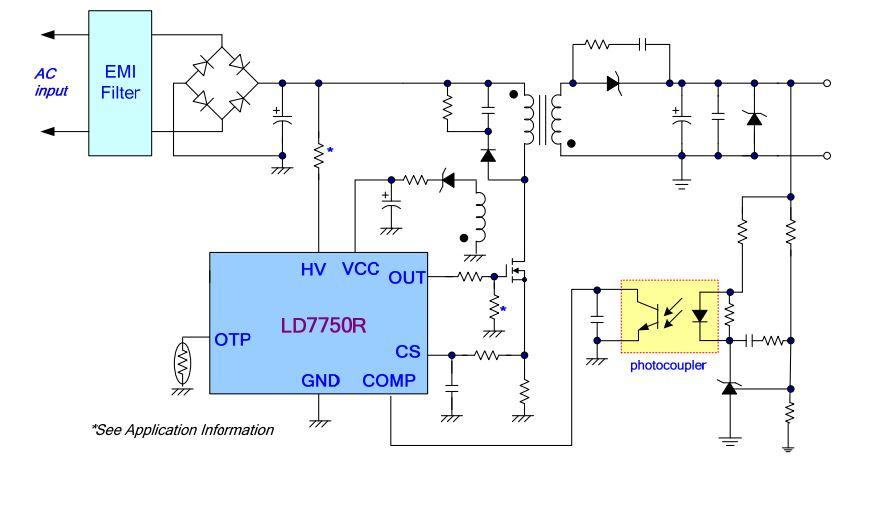 LD7750RGR, высоковольтный ШИМ-контроллер, SOP8