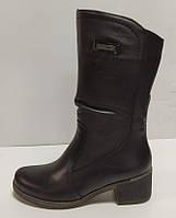 Полусапожки женские из натуральной кожи на удобном каблуке от производителя модель РБ082Р