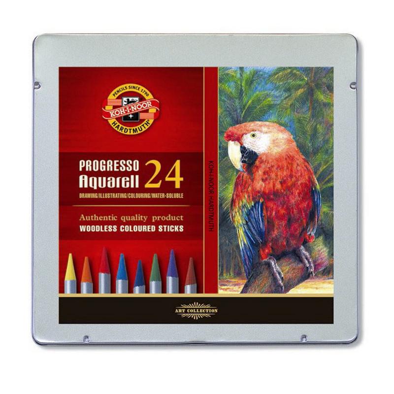 Карандаши цветные акварельные бездревесные Koh-I-Noor Progresso, 24 цвета. Подарочная металлическая упаковка