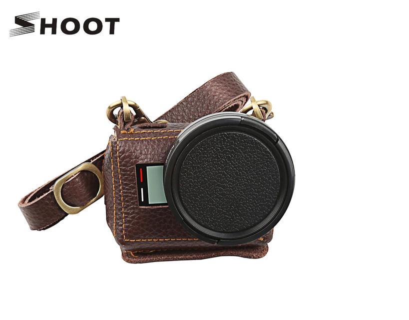 Кожаный футляр, чехол Shoot для камер GoPro Hero 5, 6, 7 (код XTGP391) - коричневый