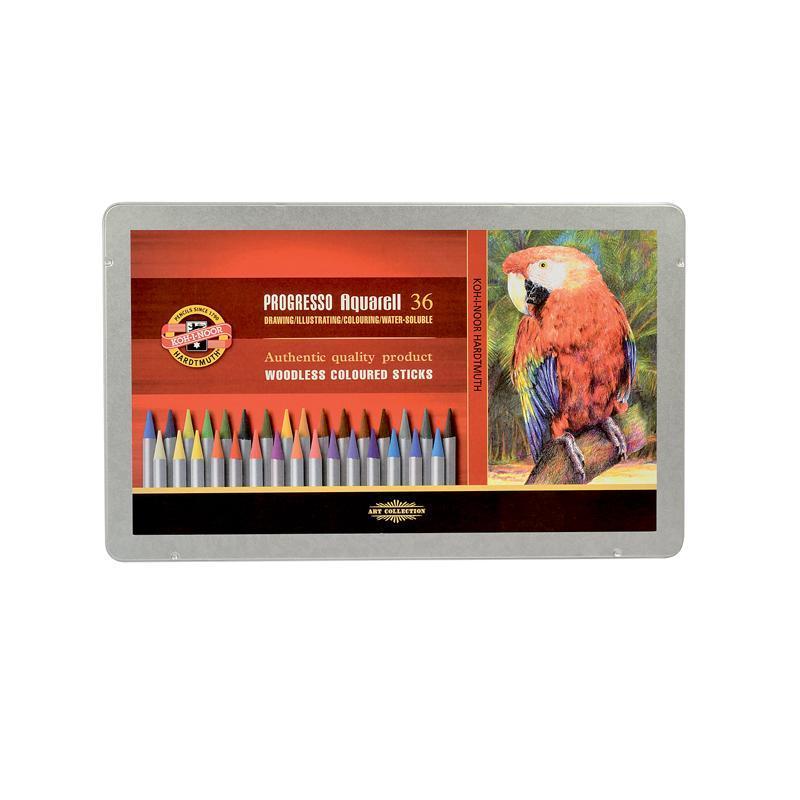 Карандаши цветные акварельные бездревесные Koh-I-Noor Progresso, 36 цветов. Подарочная металлическая упаковка
