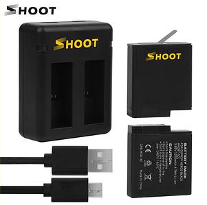 Комплект від SHOOT - 2 шт акумулятора AHDBT-501 (AABAT-001) + зарядний GoPro Hero 5, 6, 7 (код XTGP374)