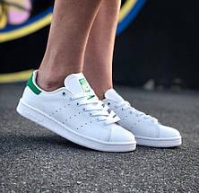 Мужские и женские кроссовки Adidas Stan Smith White Green, фото 2