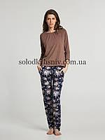 Жіноча Піжама ELLEN штани+реглан Осінні букети (Шоколадний горох) 269/001