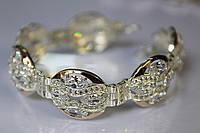 Серебряный браслет с камнями 25,5 г серебро 925 золото 375 все размеры на руку