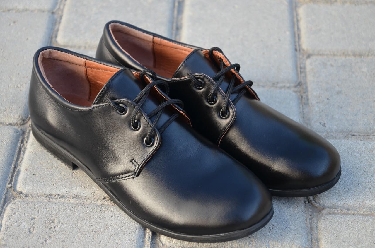 Туфли для мальчика кожаные на шнуровке 732101