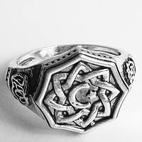 "Кольцо ""Звезда Лады"". Славянский перстень оберег. Размер 19."