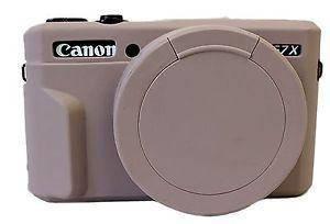 Захисний силіконовий чохол з кришкою для фотоапаратів CANON G7X Mark II - сірий