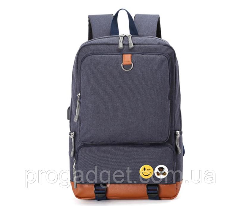 Рюкзак 20 л Casual Travel College для учебы и путешествий c 15,6-дюймовым ноутбуком Dark Blue (синий) с USB