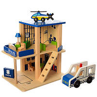 Деревянная игрушка Гараж MD 1059-1 Полиция, 2 этажа,транспорт,в кор-ке,39-28-8см