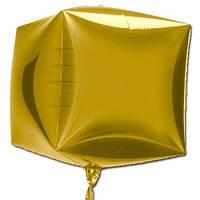 """Шар фольгированный фигурный """"Куб Золото"""" Размер:29см*26см."""