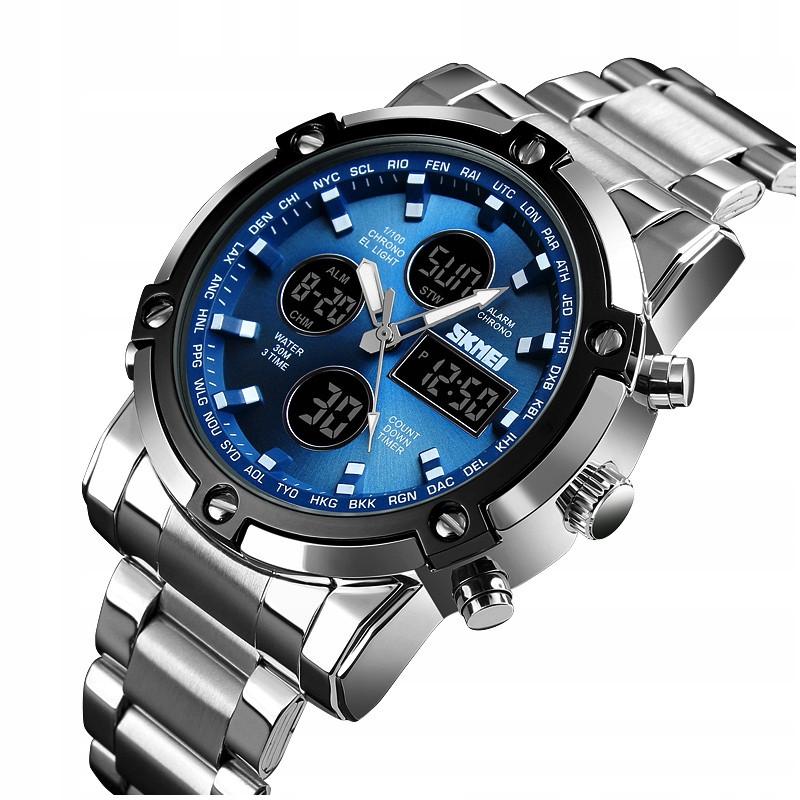 Мужские наручные часы Skmei 1389 Silver Black Blue Спортивные